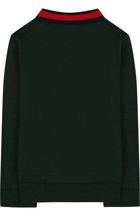 Детский хлопковый пуловер с v-образным вырезом GUCCI зеленого цвета, арт. 457692/X3F44   Фото 2