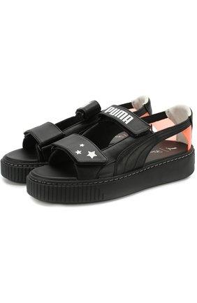 Кожаные сандалии Fenty X Puma by Rihanna Puma черные   Фото №1