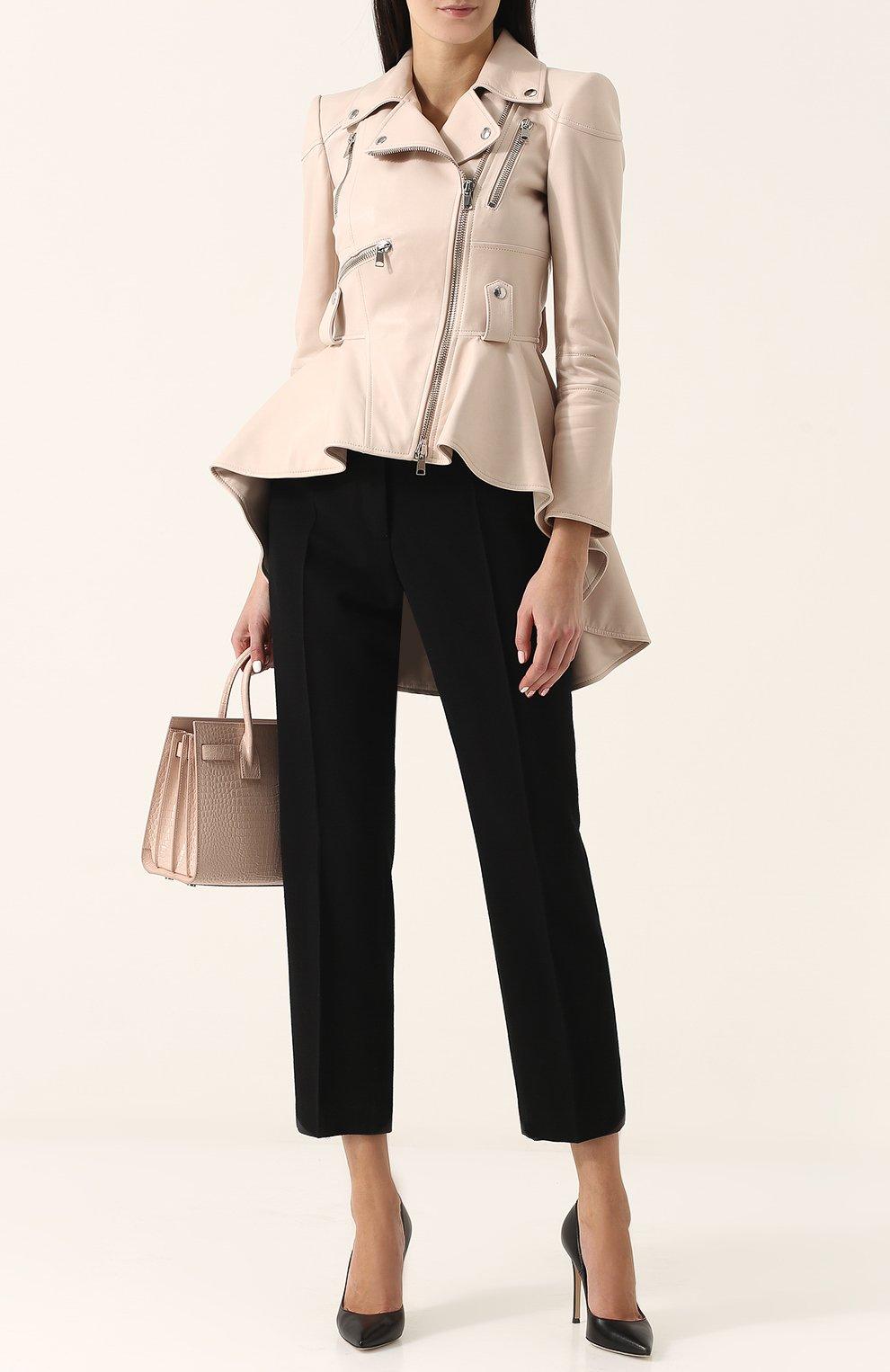 Приталенная кожаная куртка с удлиненной спинкой | Фото №2