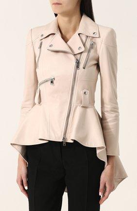 Приталенная кожаная куртка с удлиненной спинкой | Фото №3