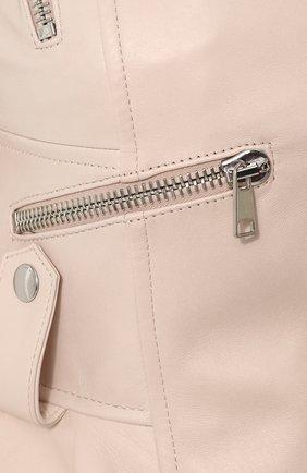 Приталенная кожаная куртка с удлиненной спинкой | Фото №5