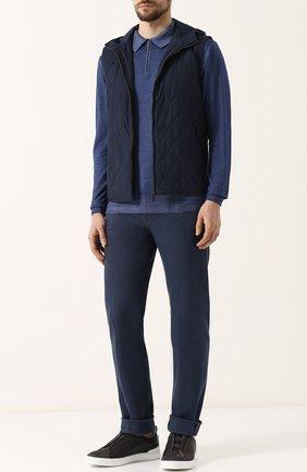 Мужское шерстяное поло с длинными рукавами CRUCIANI синего цвета, арт. CU164.PZ1 | Фото 2