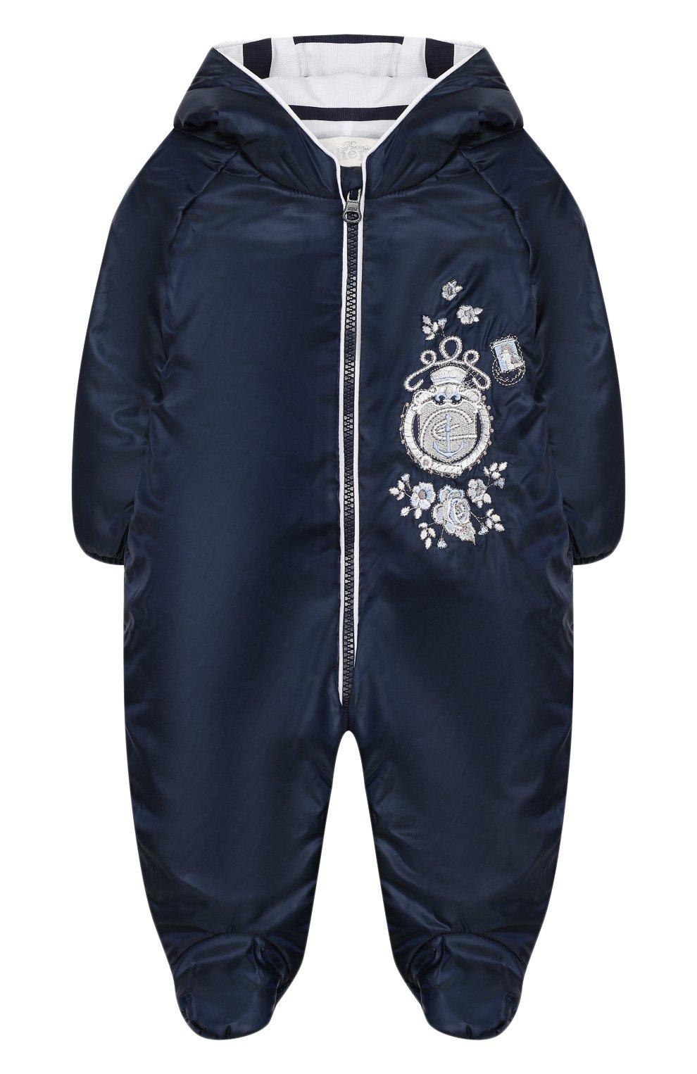 Детский комбинезон с капюшоном и вышивкой CHEPE синего цвета, арт. 391174   Фото 1