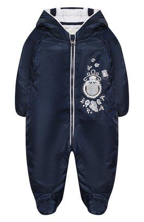 Детский комбинезон с капюшоном и вышивкой CHEPE синего цвета, арт. 391174 | Фото 1
