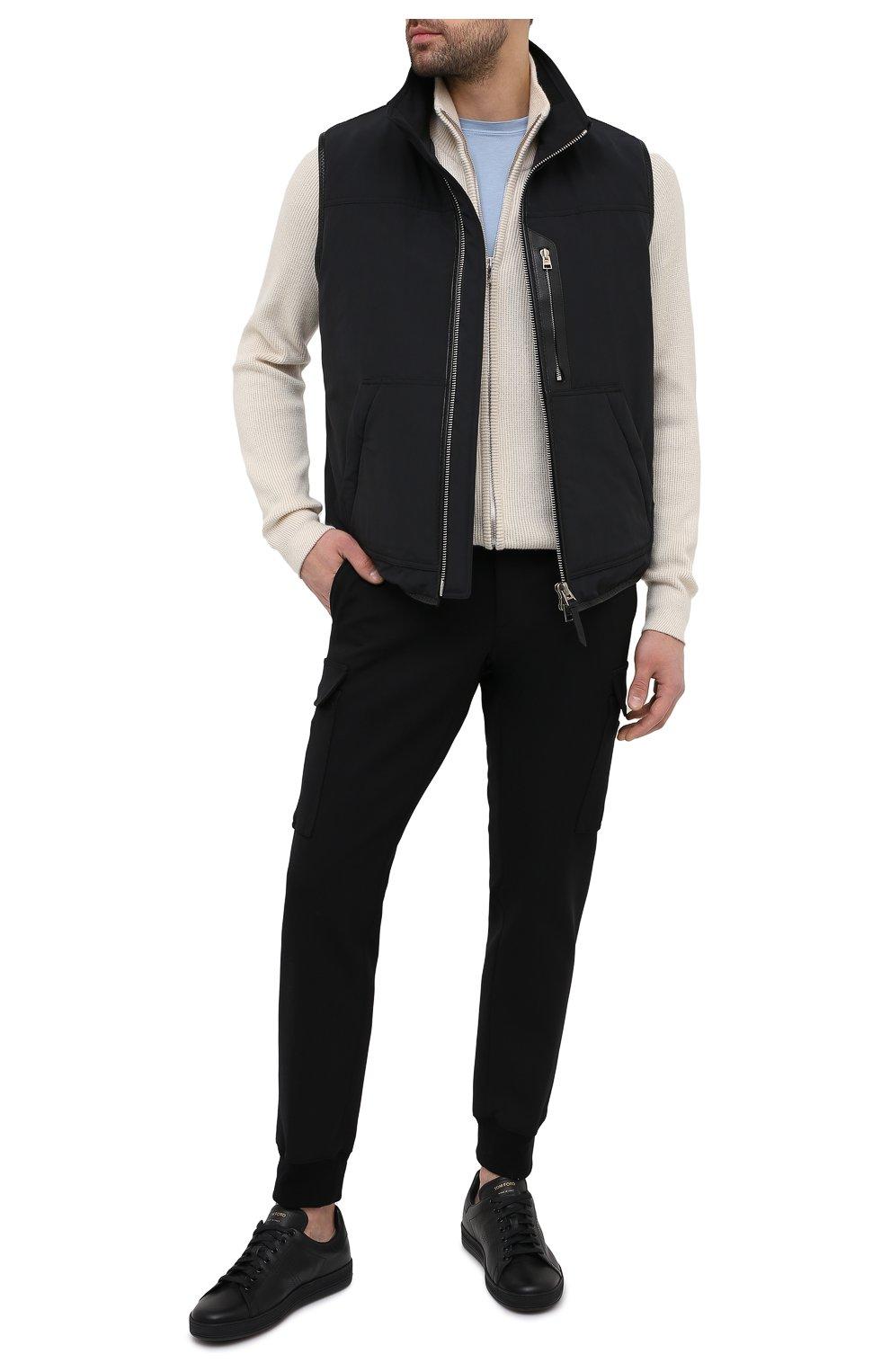 Мужские кожаные кеды на шнуровке TOM FORD черного цвета, арт. 118J1045N-DAP/117   Фото 2