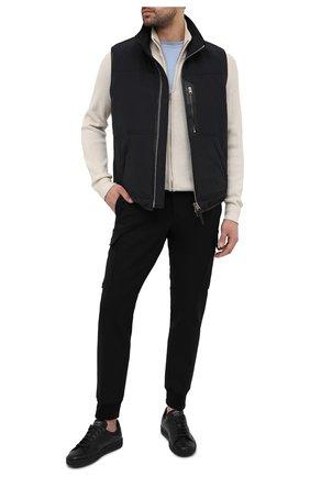 Мужские кожаные кеды на шнуровке TOM FORD черного цвета, арт. 118J1045N-DAP/117 | Фото 2