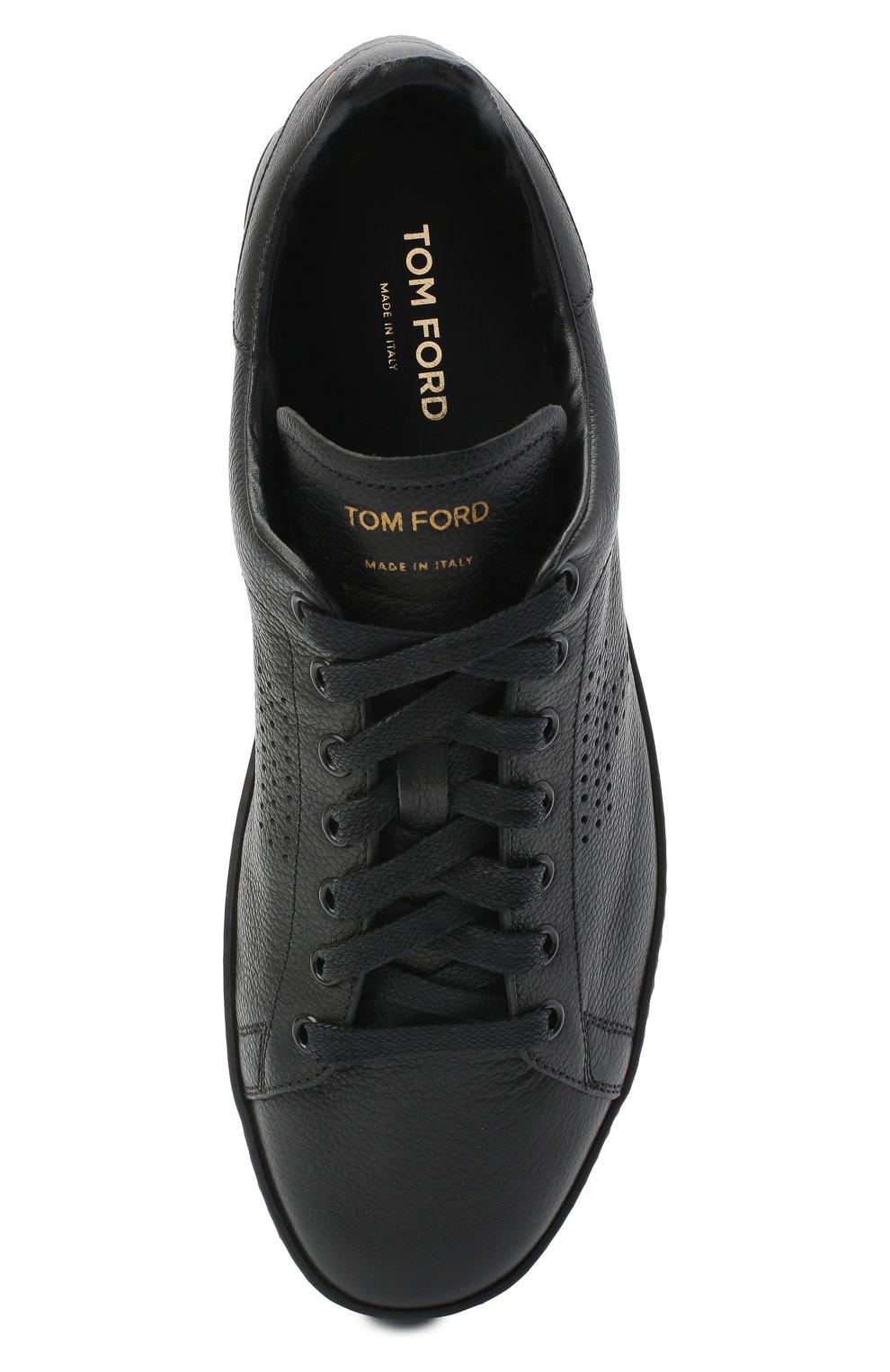 Мужские кожаные кеды на шнуровке TOM FORD черного цвета, арт. 118J1045N-DAP/117   Фото 5