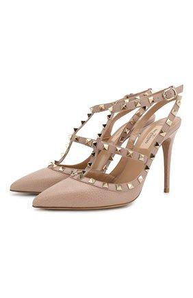 Кожаные туфли Valentino Garavani Rockstud с ремешками на шпильке   Фото №1