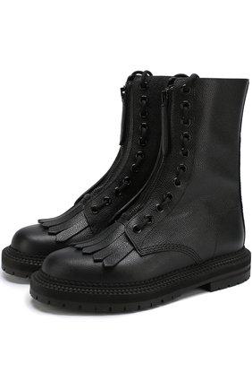 Кожаные ботинки с бахромой | Фото №1