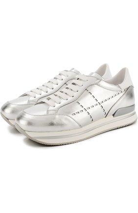 Кросcовки из металлизированной кожи на шнуровке Hogan серебряные | Фото №1