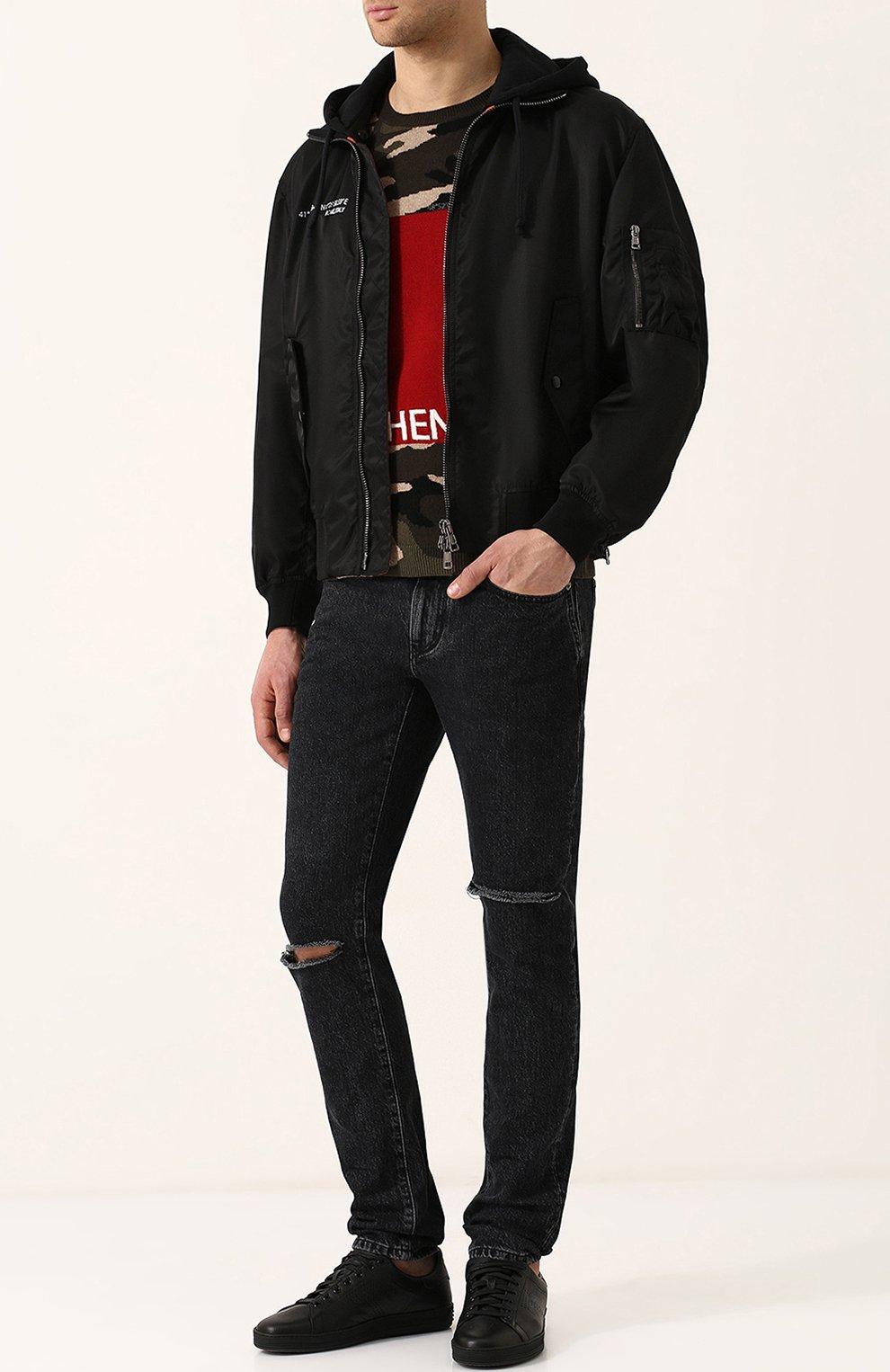 Шерстяной джемпер с камуфляжным принтом Valentino хаки   Фото №2