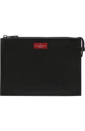 Мужская кожаный футляр для документов valentino garavani с принтом VALENTINO черного цвета, арт. PY2P0P09/HFY | Фото 1