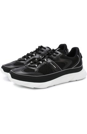 Комбинированные кроссовки на шнуровке Dior черные | Фото №1