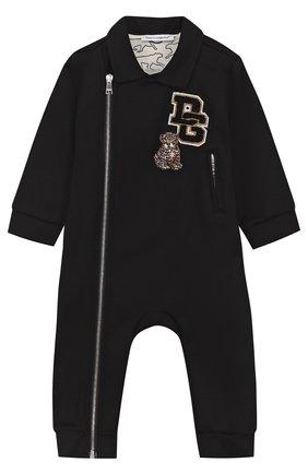 Детский хлопковый комбинезон с нашивками DOLCE & GABBANA черного цвета, арт. L1J0T3/G7MZA   Фото 1