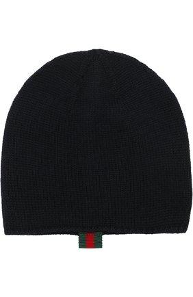 Детского шерстяная шапка GUCCI синего цвета, арт. 473567/3K706 | Фото 1