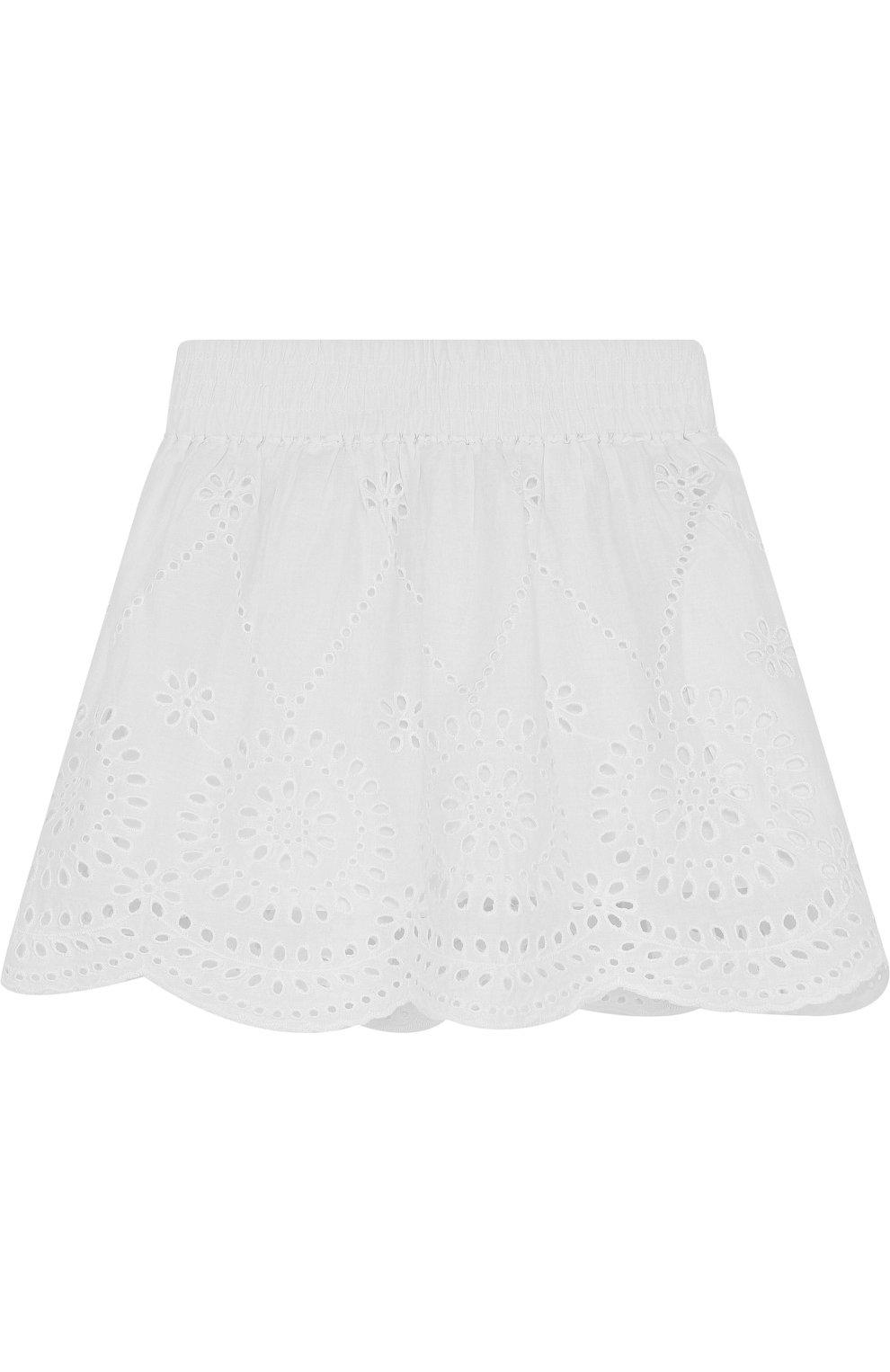 Хлопковая мини-юбка с эластичным поясом и перфорацией | Фото №1