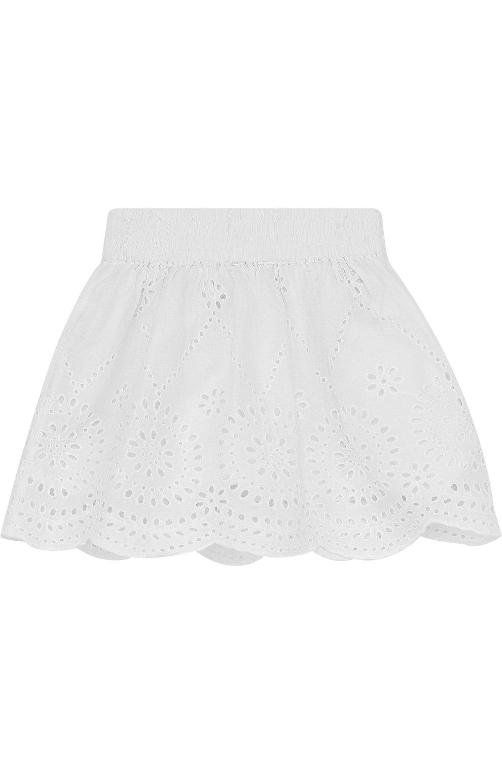 Хлопковая мини-юбка с эластичным поясом и перфорацией | Фото №2
