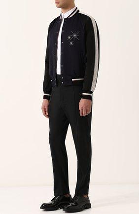 Кожаные дерби с круглым мысом и принтом Dior черные | Фото №1