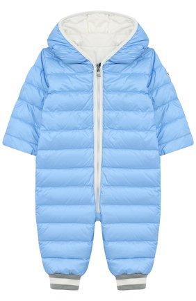 Детский пуховый комбинезон с капюшоном MONCLER ENFANT голубого цвета, арт. D1-951-14349-05-53048/3M-18M | Фото 1