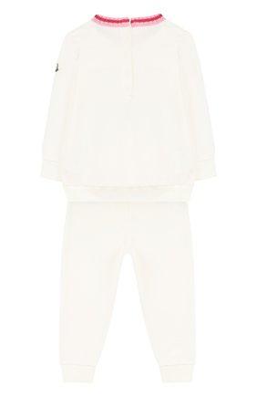 Детский хлопковый костюм с принтом MONCLER ENFANT белого цвета, арт. D1-951-88559-05-809AC | Фото 2