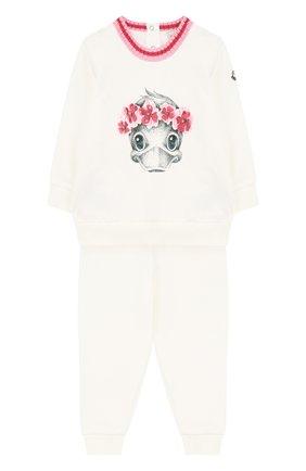 Хлопковый костюм с принтом Moncler Enfant белого цвета | Фото №1