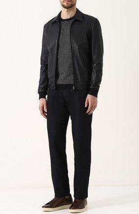 Мужские джинсы прямого кроя из смеси шерсти и льна с шелком GIORGIO ARMANI темно-синего цвета, арт. 3ZSJ35/SN21Z | Фото 2