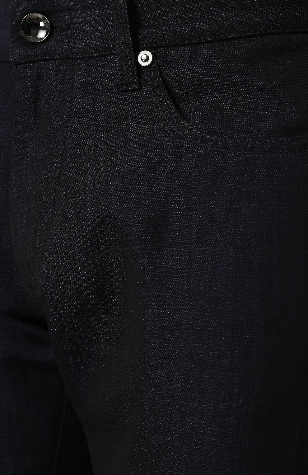 Джинсы прямого кроя из смеси шерсти и льна с шелком Giorgio Armani темно-синие   Фото №5