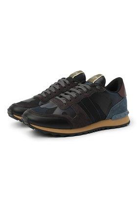 Комбинированные кроссовки Valentino Garavani Rockrunner на шнуровке | Фото №1