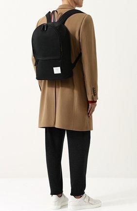 Текстильный рюкзак с внешним карманом на молнии Thom Browne черный | Фото №1