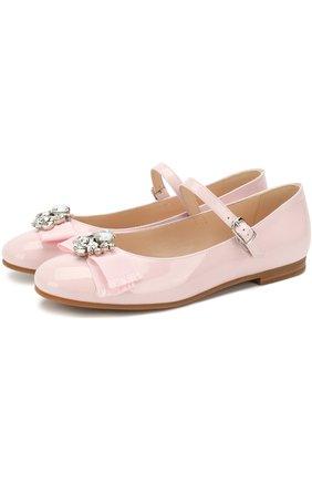 Лаковые туфли с бантом и кристаллами   Фото №1