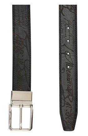 Мужской кожаный ремень BERLUTI черного цвета, арт. C0028-005   Фото 2