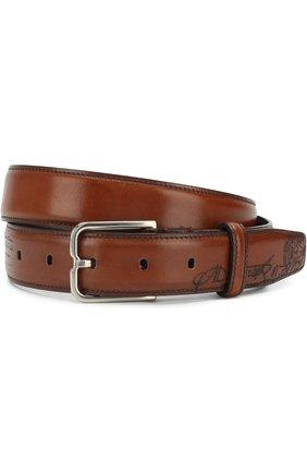 Мужской кожаный ремень с металлической пряжкой BERLUTI коричневого цвета, арт. C0052-007 | Фото 1