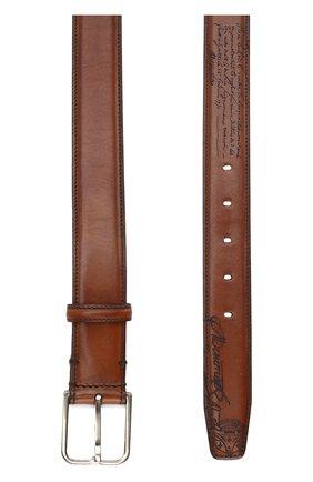 Мужской кожаный ремень с металлической пряжкой BERLUTI коричневого цвета, арт. C0052-007 | Фото 2