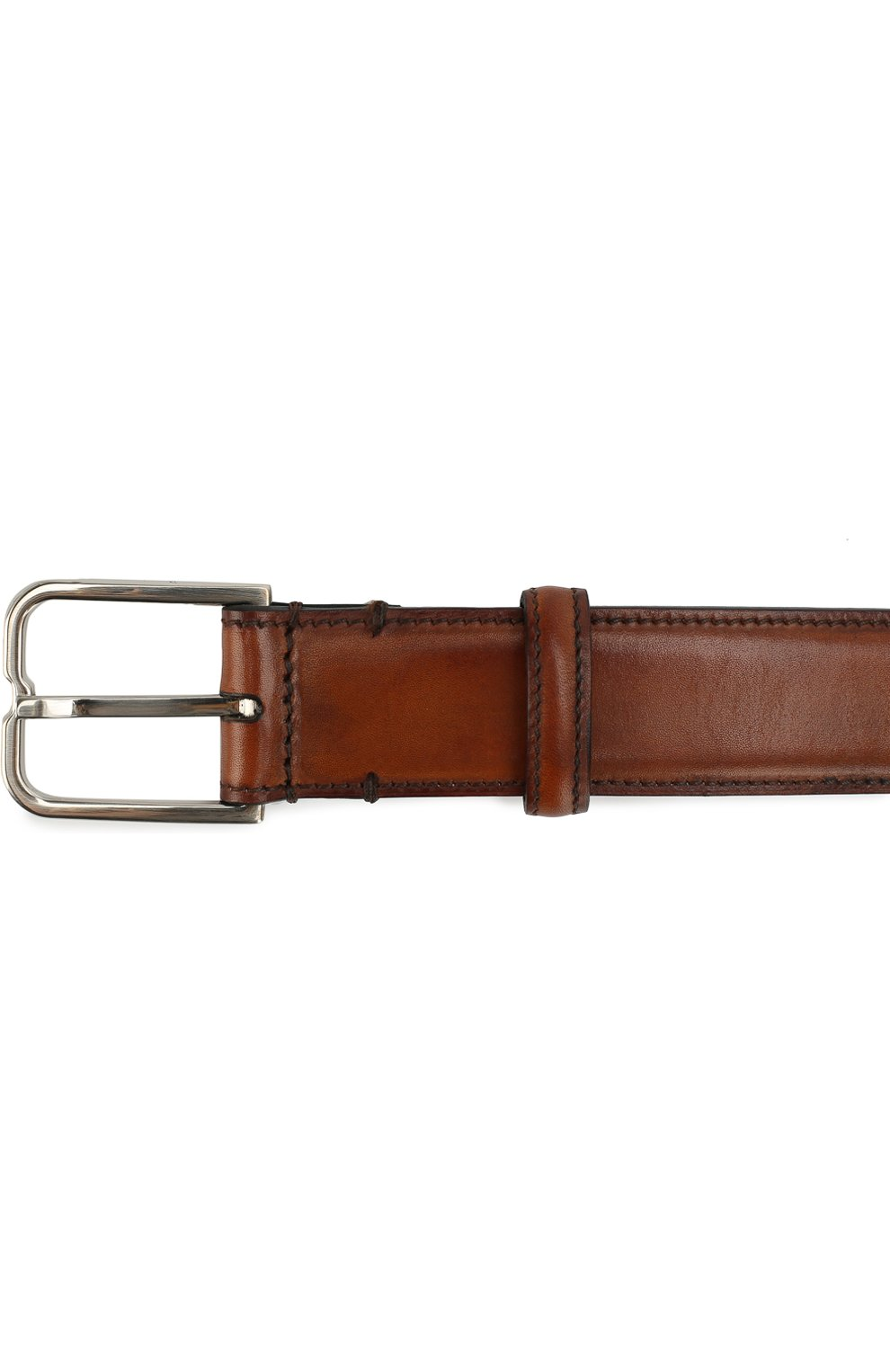 Мужской кожаный ремень с металлической пряжкой BERLUTI коричневого цвета, арт. C0052-007 | Фото 3