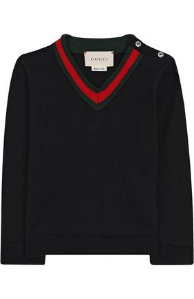 Детский хлопковый пуловер с v-образным вырезом GUCCI синего цвета, арт. 457692/X3F44   Фото 1
