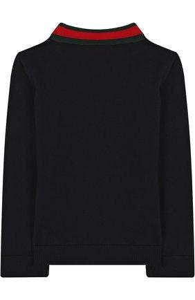 Детский хлопковый пуловер с v-образным вырезом GUCCI синего цвета, арт. 457692/X3F44 | Фото 2