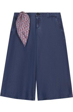 Расклешенные хлопковые джинсы с декоративным платком | Фото №1