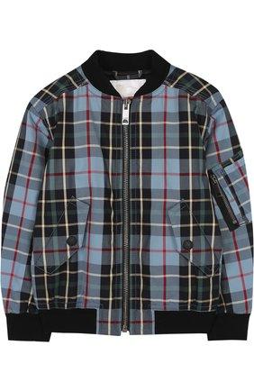 Хлопковая куртка-бомбер с принтом | Фото №1
