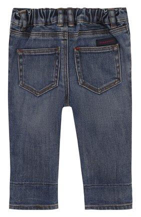 Детские джинсы с эластичной вставкой на поясе и прострочкой BURBERRY синего цвета, арт. 4063587 | Фото 2