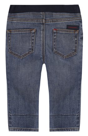 Детские джинсы с эластичной вставкой на поясе и прострочкой BURBERRY синего цвета, арт. 4063589 | Фото 2
