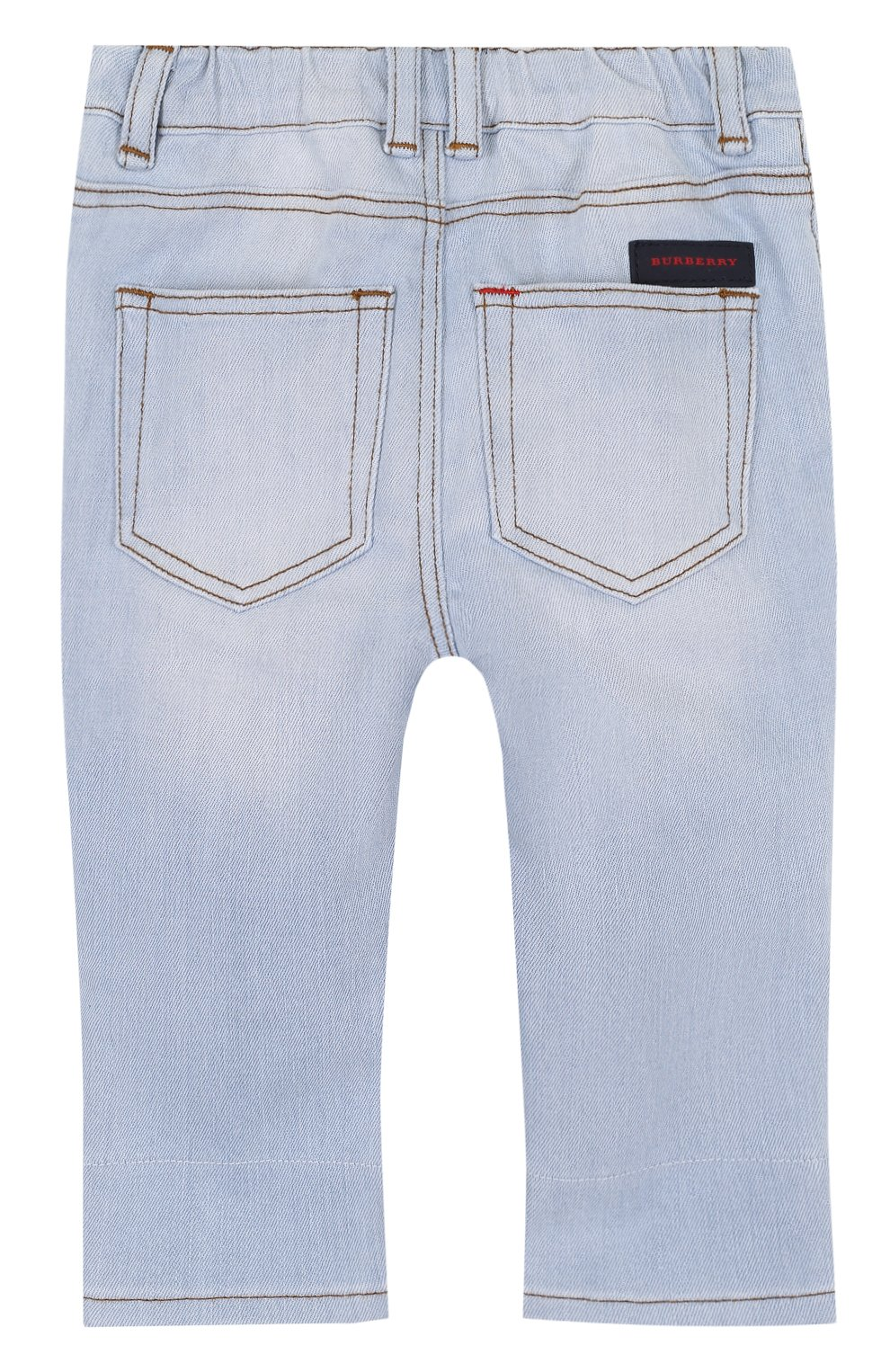 Детские джинсы с эластичной вставкой на поясе и прострочкой BURBERRY голубого цвета, арт. 4063588   Фото 2