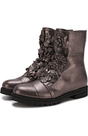 Кожаные ботинки с цветочной аппликацией | Фото №1