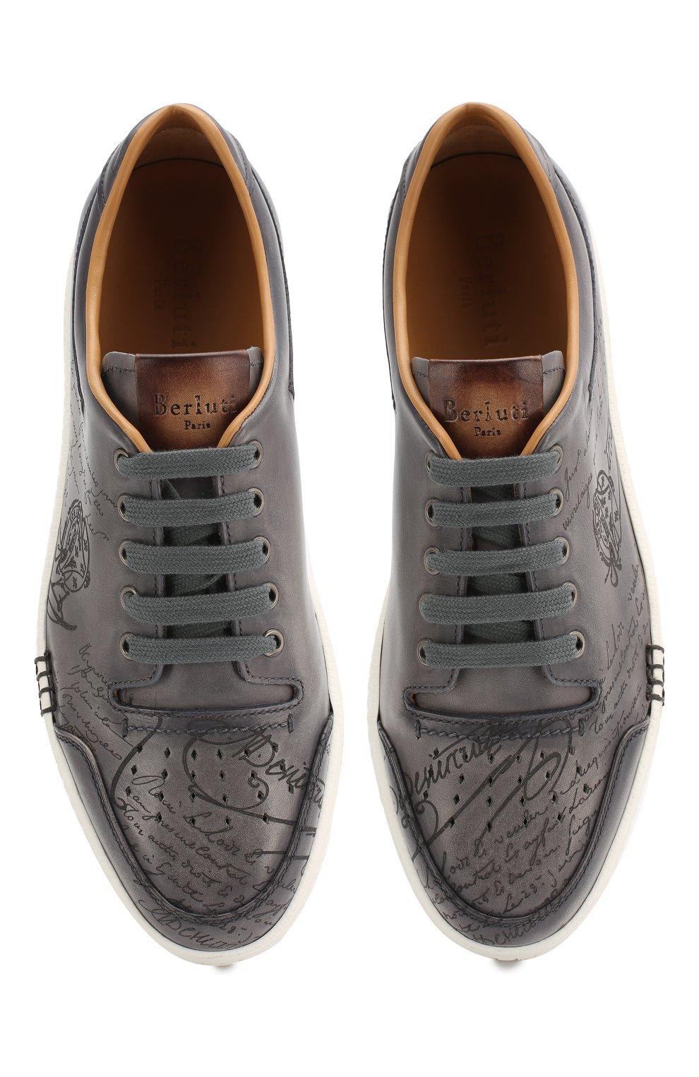 Мужские кожаные кеды BERLUTI темно-серого цвета, арт. S4126-001 | Фото 5