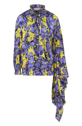 Шелковая блуза асимметричного кроя с принтом | Фото №1