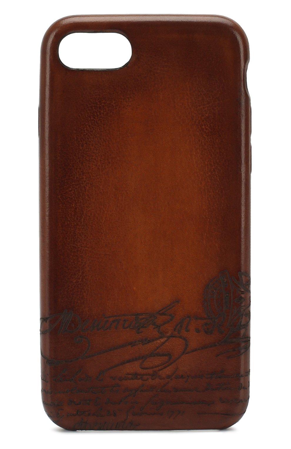 Мужской кожаный чехол для iphone 7/8 BERLUTI коричневого цвета, арт. X155097   Фото 1