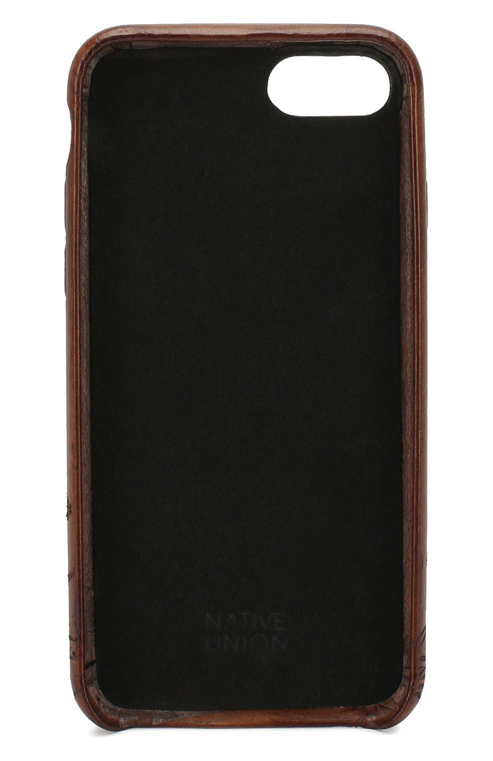 Мужской кожаный чехол для iphone 7/8 BERLUTI коричневого цвета, арт. X155097   Фото 2