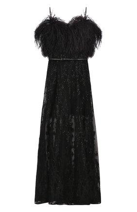 Платье-бюстье с поясом и отделкой из пера страуса | Фото №1