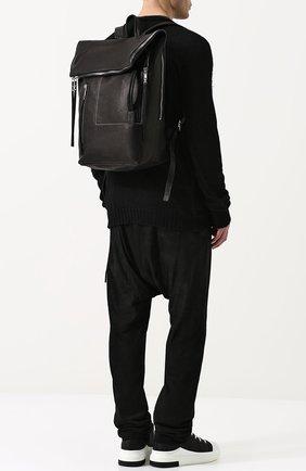 Кожаный рюкзак с внешним карманом на молнии Rick Owens черный | Фото №1