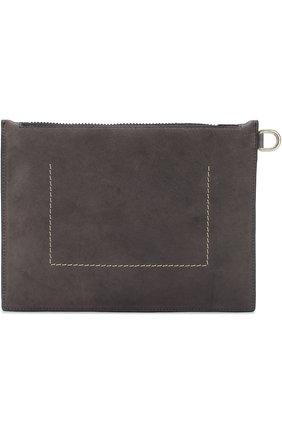 Кожаный футляр для документов на молнии Rick Owens серого цвета | Фото №1