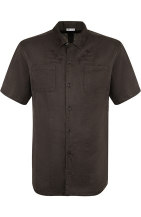 Рубашка с короткими рукавами из смеси шелка и хлопка Tomas Maier темно-зеленая | Фото №1